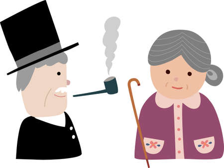 granny and grandad: The view of old couple Illustration