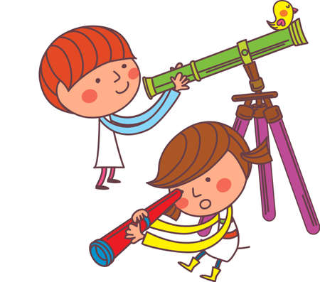 The view of children with telescope Vector