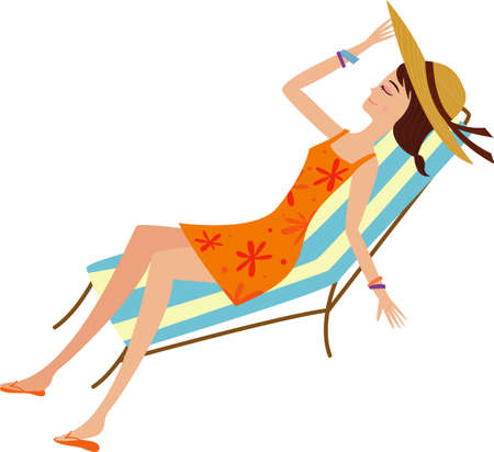 sun bed: The view of woman on the sun bed
