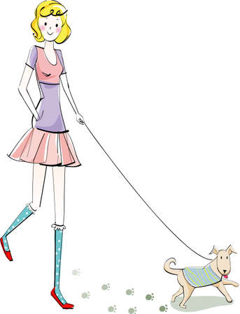 The view of woman with dog Vector