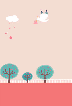 The view of bird is flying in the park Vector