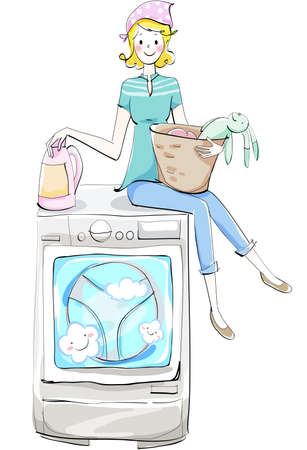 The view of woman with washing machine Vector