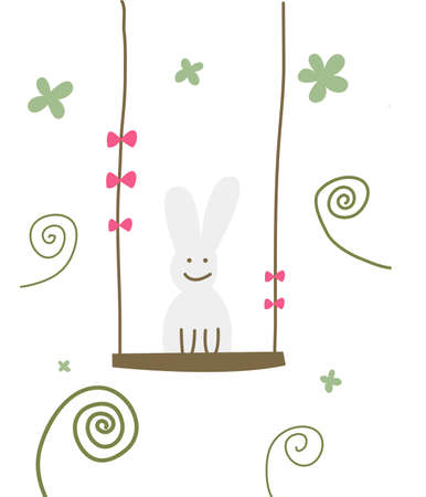 The view of rabbit on the swing  Stock Vector - 28713047