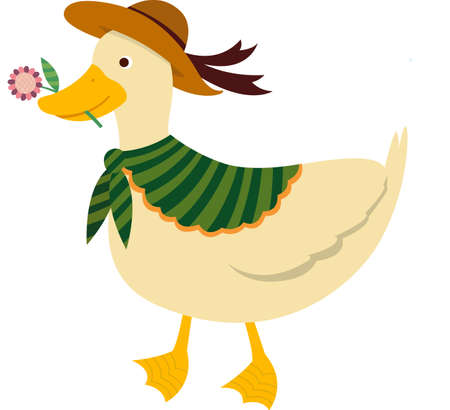 The view of duck with flower Vector