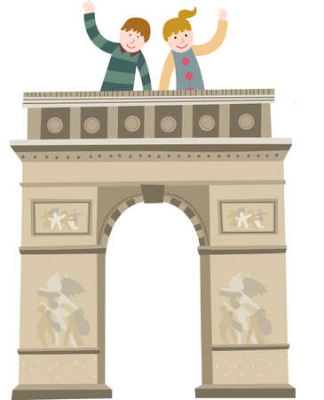 The view of triumphal arch in paris Vector