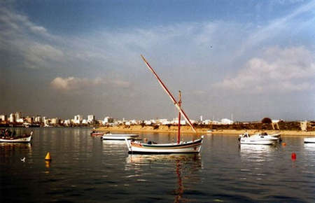 portugese: Photo of a traditional portugese fishing boat called