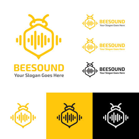BEE SOUND MUSIC WAVE PRODUCTION RECORDING LOGO TEMPLATE