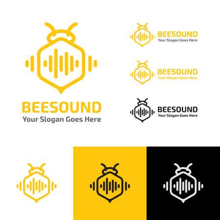 BEE SOUND MUSIC WAVE PRODUCTION RECORDING LOGO TEMPLATE Zdjęcie Seryjne - 143157023