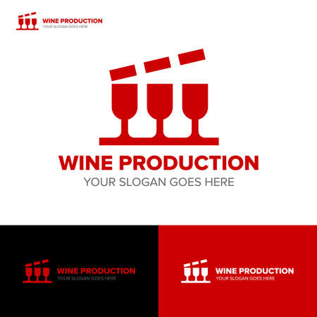 WINE PRODUCTION MOVIE MEDIA RECORDING PRODUCTION LOGO TEMPLATE Ilustração
