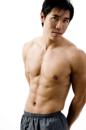 pectorals: The toned body of a young chinese man