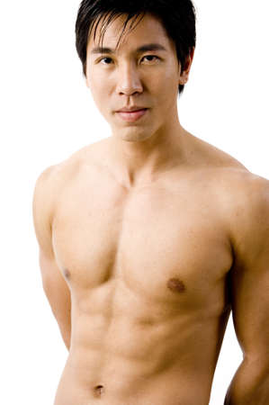 defined: A muscular chinese male model on white background Stock Photo