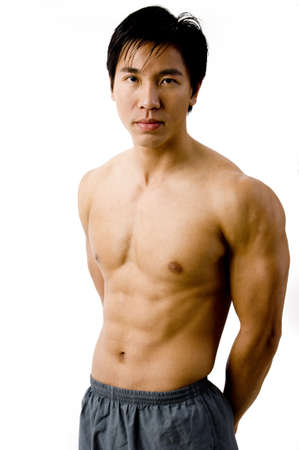 defined: A colour picture of muscular chinese model