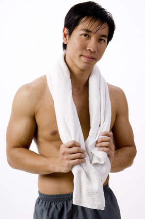 A chinese sportsman with white towel