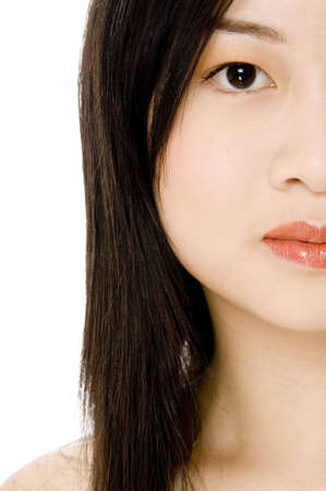 A cropped picture of a beautiful asian woman
