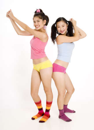 Two teenage women having fun photo