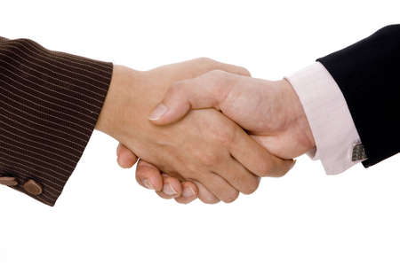 compromise: A woman and man shake hands Stock Photo