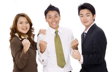 yeah: A young business team looks pleased with themselves