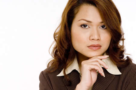 A young attractive businesswoman with a confident gaze photo