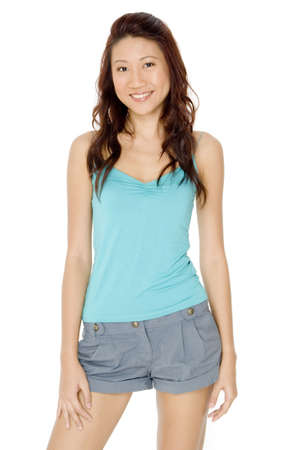 spaghetti strap: A pretty young asian woman in blue top and shorts
