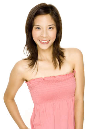 A cute young asian woman with a happy smile on white background