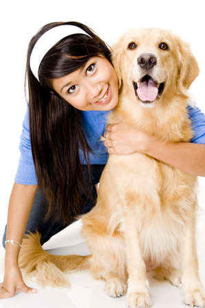 retreiver: A pretty young asian woman with her pet dog