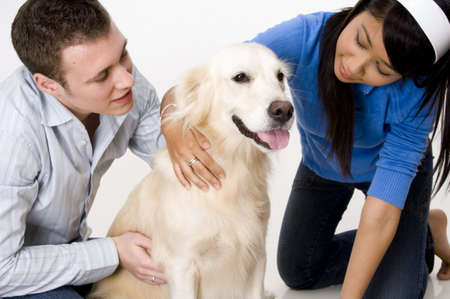 retreiver: A young couple with a pale golden retreiver