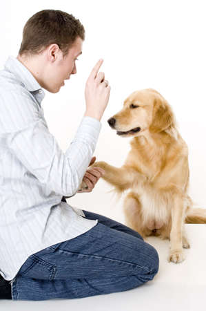 A young man tries to train his pet dog to shake handspaws photo