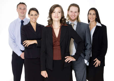 Five business professionals standing together as one business team on white background Stock Photo - 552970