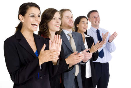 applaud: A diverse business team celebrate their success by appluading on white background Stock Photo