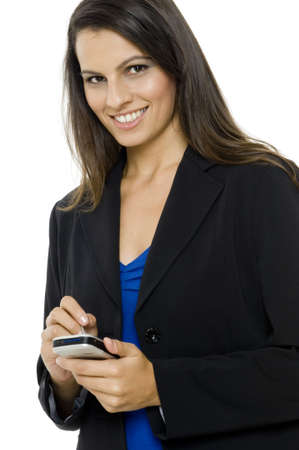 personal digital assistant: A young successful businesswoman with personal digital assistant on white background