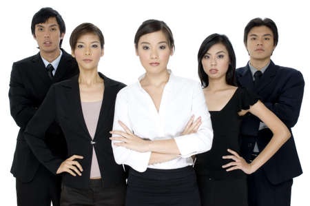A group of five young asian businessmen and women on white background Stock Photo