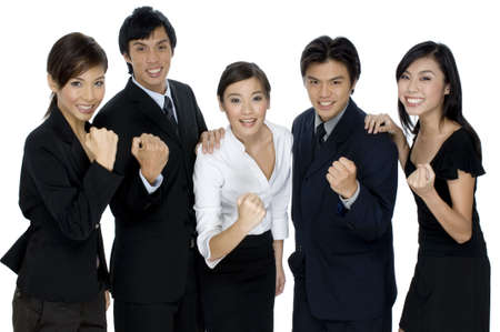 A business team celebrate their success