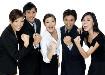 asian success: A group of young asian business people celebrate their success on white background