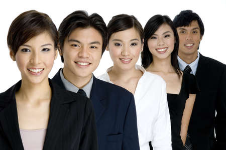 coworker: A group of young attractive businesswomen and men on white background Stock Photo