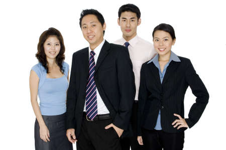 A team of young asian businessmen and women on white background