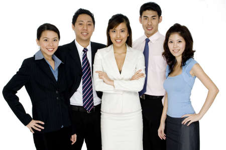 A group of five asian businessmen and businesswomen on white background