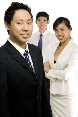 Three young asian business executives on white background