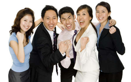 A joyful business team celebrate their success (isolated on white background)