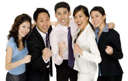 A successful business team celebrate together on white background