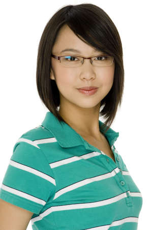studious: An attractive asian young woman in spectacles on white background