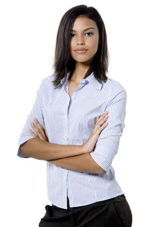 A pretty asian businesswoman standng with her arms folded on white background