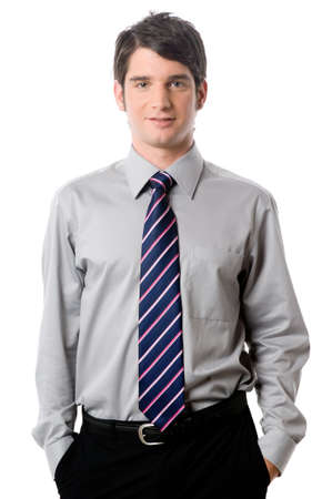 striped shirt: A young businessman in shirt and tie on white background Stock Photo