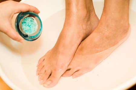 salts: Bath salts are applied to a foot bath