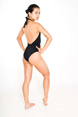 physique: Young attractive asian women in black swimsuit