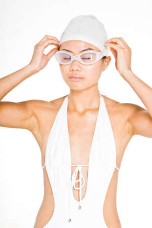 dca29a25cc6 Young attractive asian women in swimming gear Stock Photo - 1518820