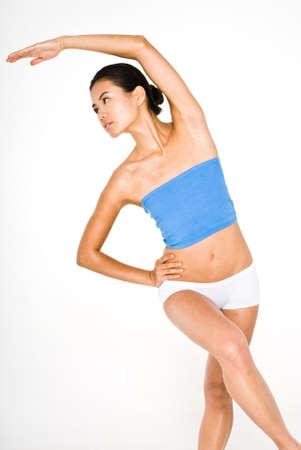 physique: Young attractive asian women in small blue top and white shorts