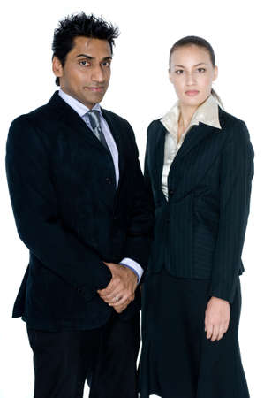 two young professionals in suits on white background stock photo