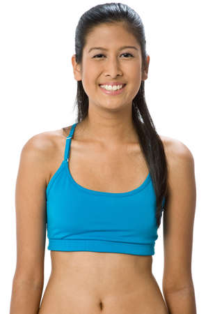 An attractive mixed-race woman in blue sportswear on white background Stock Photo - 2382504