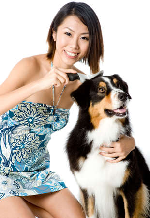 A young woman brushing her pet dog Stock Photo - 2506149
