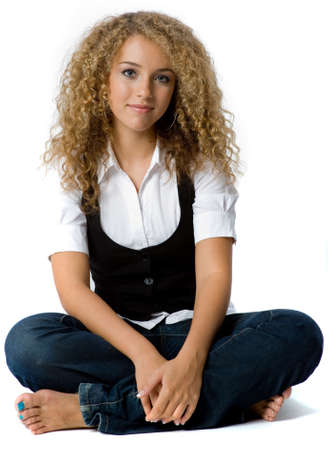 frizzy: A pretty teenage girl with great hair on white background